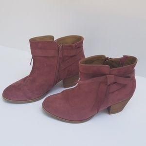 Torrid pink suede heeled booties 10W